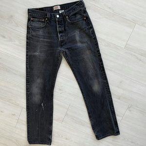 Vintage Levi's 501 black jeans 32 34 button fly